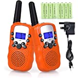 Fetoo 2pcs Kids Walkie Talkies Children Walky Talky 3KM Range PMR446 with Rechargeable Battery, UK Plug Charger, Built-in LED Torch 0.5W 8 Channels VOX Flashlight Two-Way Radios (1 Pair, black) ( 8 x AAA battery and UK charger included )