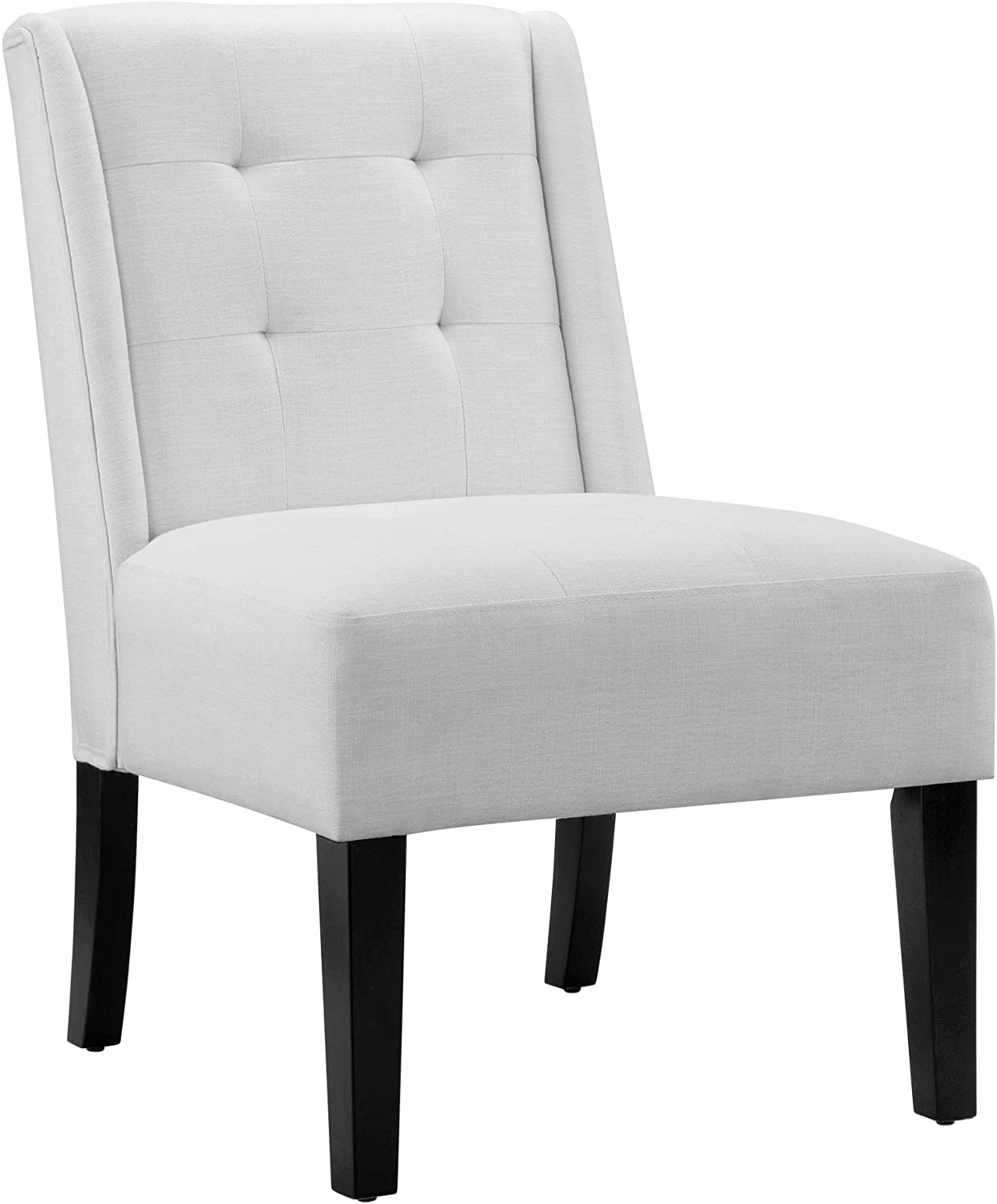AmazonBasics tufted accent chair with wood legs, White