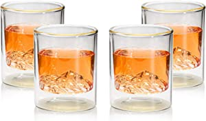 ComSaf 6 oz Whiskey Glasses, Crystal Double Walled Scotch Whisky Glasses Set of 4, Lion-Etch Stylish Glasswares for Scotch, Bourbon, Cocktails, Rye, Rum