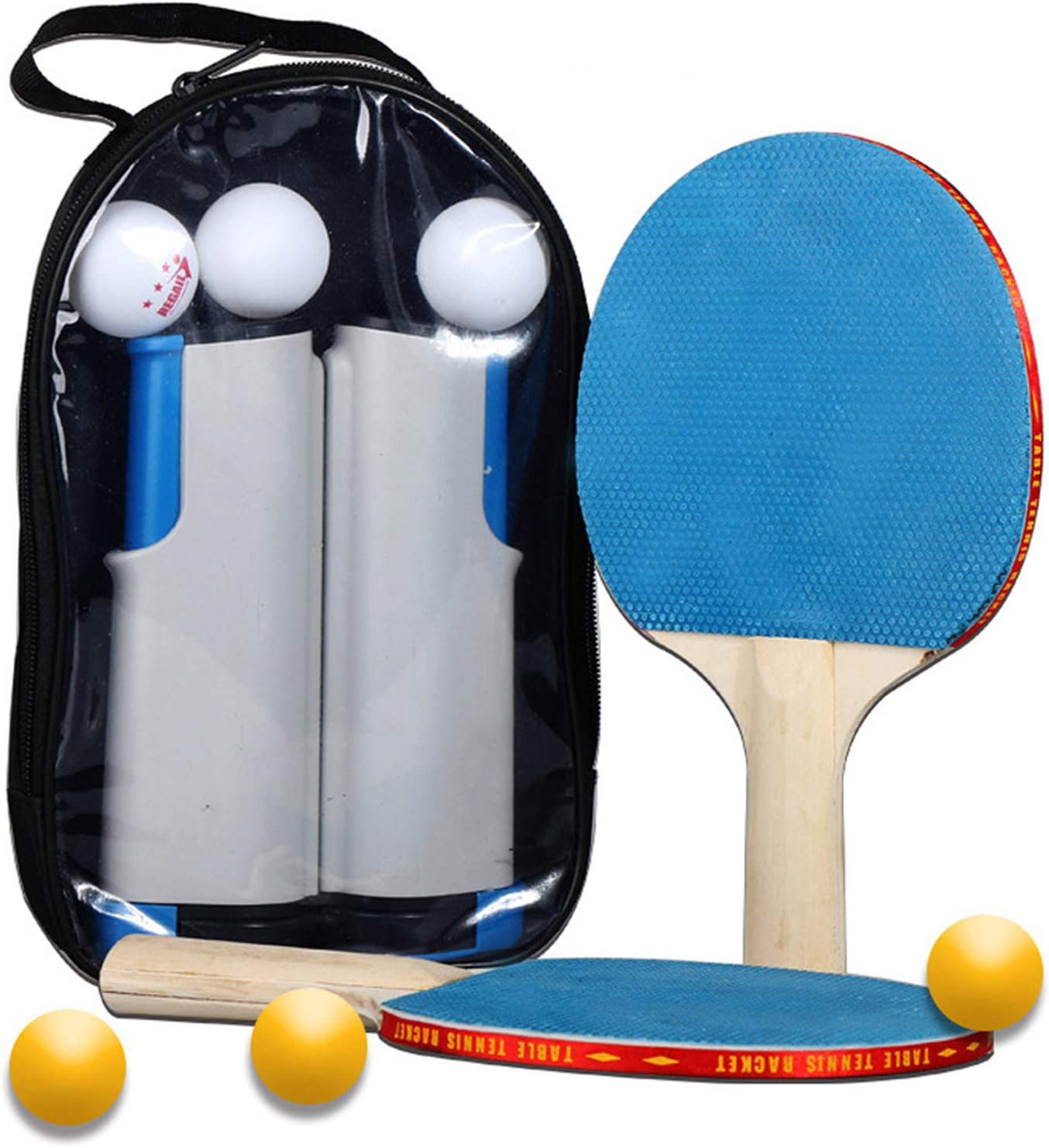 Premium Ping Pong Paddles Set of 2 Drawstring Bag 3 Table Tennis Balls LinkIdea Ping Pong Paddle Retractable Net Rubber Spin Bat Ideal for Indoor Outdoor Professional and Recreational Games