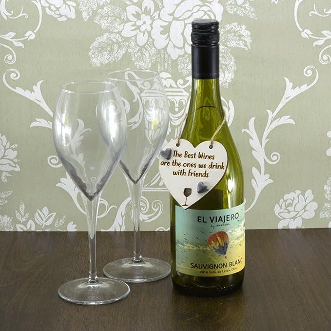 Los mejores vinos son Bebe con amigos de corazones de cerámica hecha a mano botella de vino encanto (gris de recuerdo de regalo): Amazon.es: Hogar