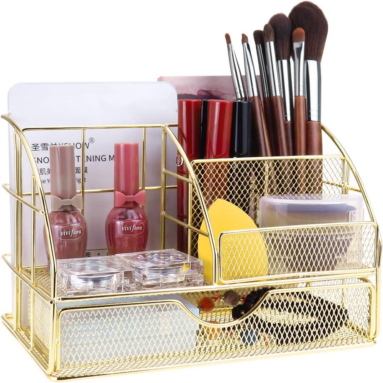 LEORISO All-in-one Office Supplies, Desktop Drawer Organizer, Pen Holder, Sticky Note Holder, Mail Sorter, Metal Desk Accessories Gold Desk Organizer