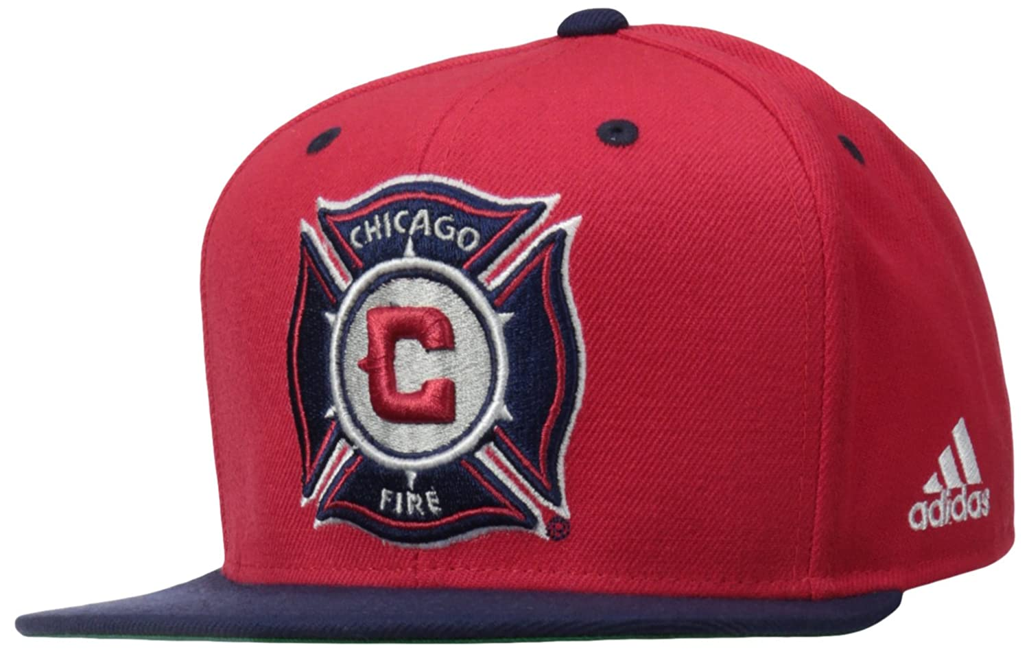 b52b2493760f89 Amazon.com : MLS Chicago Fire Men's Team Logo Two Tone Flat Brim Snapback  Hat, One Size, Red : Cold Weather Hats : Clothing