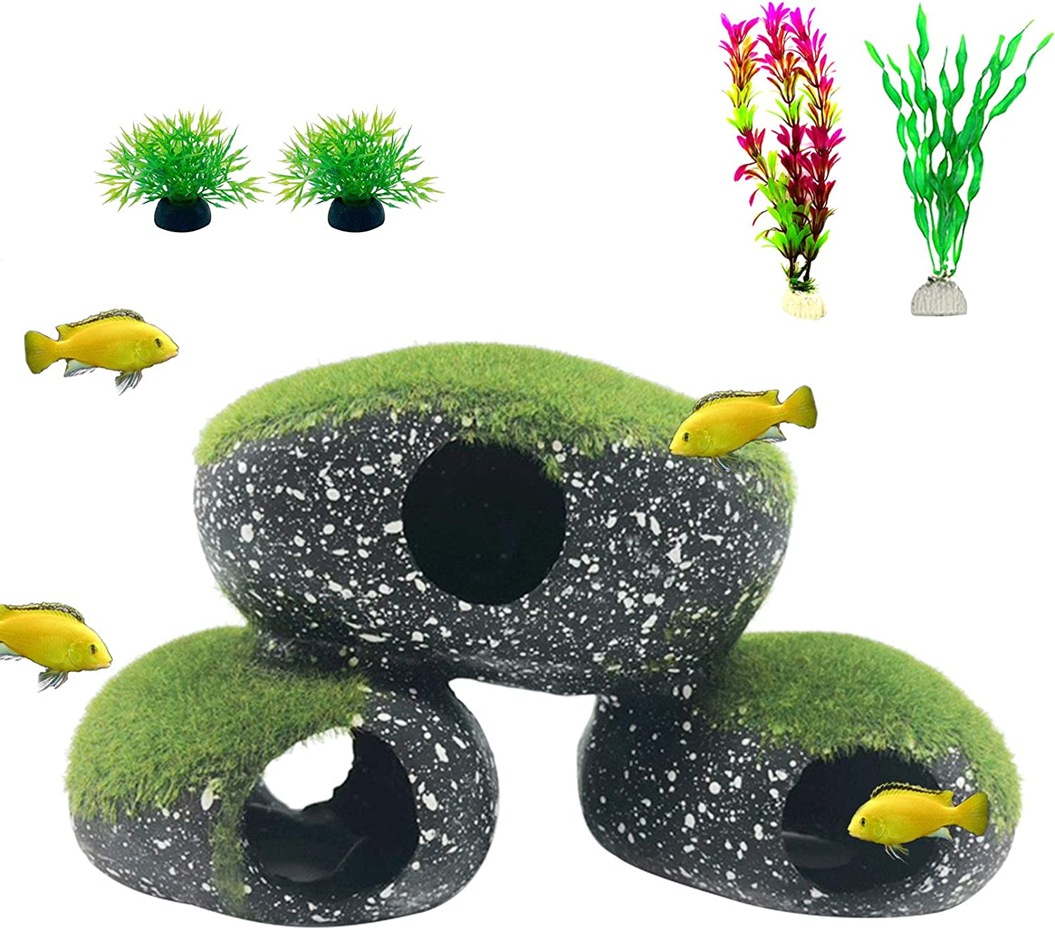 Tfwadmx Resin Cichlids Rock Decor Stone Aquarium Hideaway Decoration with Artificial Moss Betta Cave Hideout Shelter Fish Tank Tunnel Ornament for Shrimp,Short Bream and Crayfish(M)