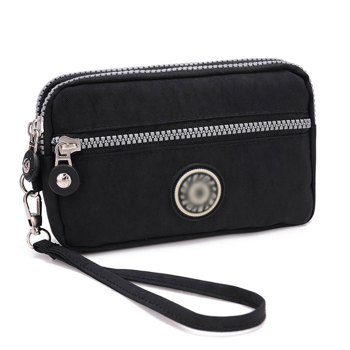 Bags us Women Girls Nylon Wristlet Bag Three Layers Wrist Handbag Large Coin Purse Wallet Clutch
