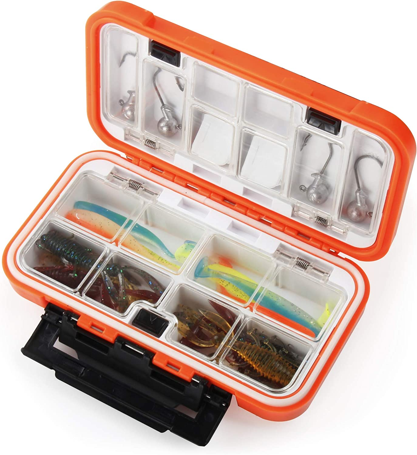 REAWOW Sea Fishing Lure Box Waterproof Fishing Tackle Organizer Boxes With Compartments Fly Boxes For Fly and Ice Fishing Small Fishing Tackle Box With Tackle Included