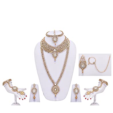 1cfaadb360 Image Unavailable. Image not available for. Colour: Lucky Jewellery White Kundan  and Cz Stone Alloy Bridal Necklace Set ...