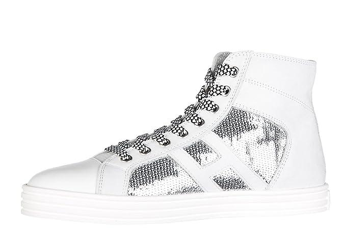 Hogan Rebel Scarpe Sneakers Alte Donna in Camoscio Nuove r141 Laterale Pailettes Tessuto Bianco EU 38 HXW1410P990FJC0906 73BAC