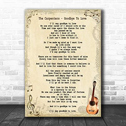 Amazoncom Goodbye To Love Song Lyric Vintage Quote Print Office