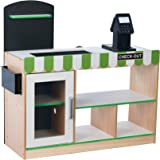 Teamson Kids - Cashier Austin Wooden Fresh Mart Market Grocery Store Pretend Play Stand with 26 Accessories - Green…