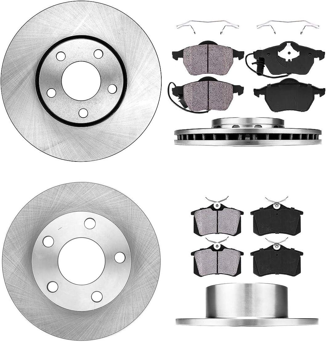 For Audi Volkswagen A6 Passat Front Rear  Drill Slot Brake Rotors+Ceramic Pads