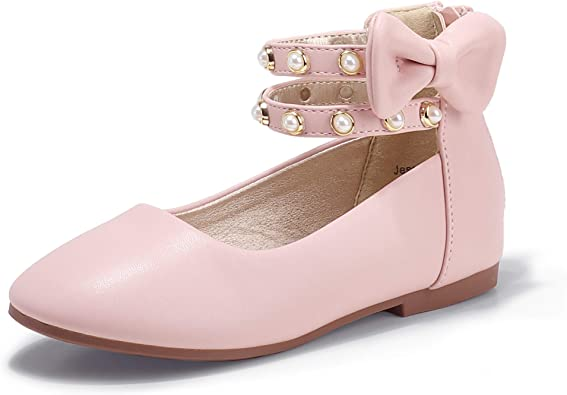 Trary Girls Rhinestone Ankle Strap Flats Dress Ballet Shoes with Bow