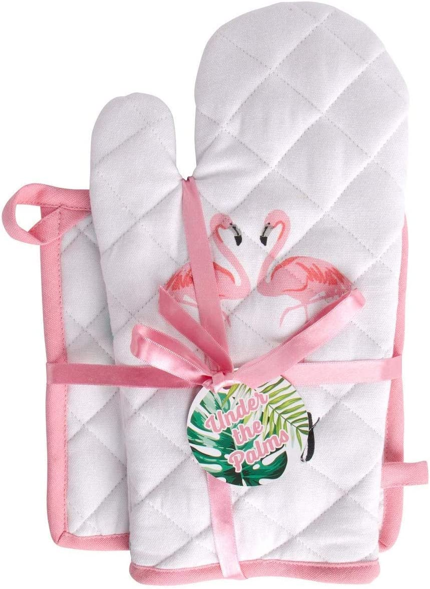 Home Essentials Set of Flamingo Oven Mitt and Pot Holder