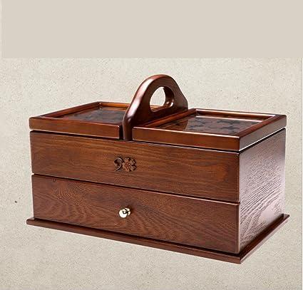 GFYWZ Madera tallada cosmética caja de almacenamiento cubierto Hogar grande del rectángulo del tamaño de la