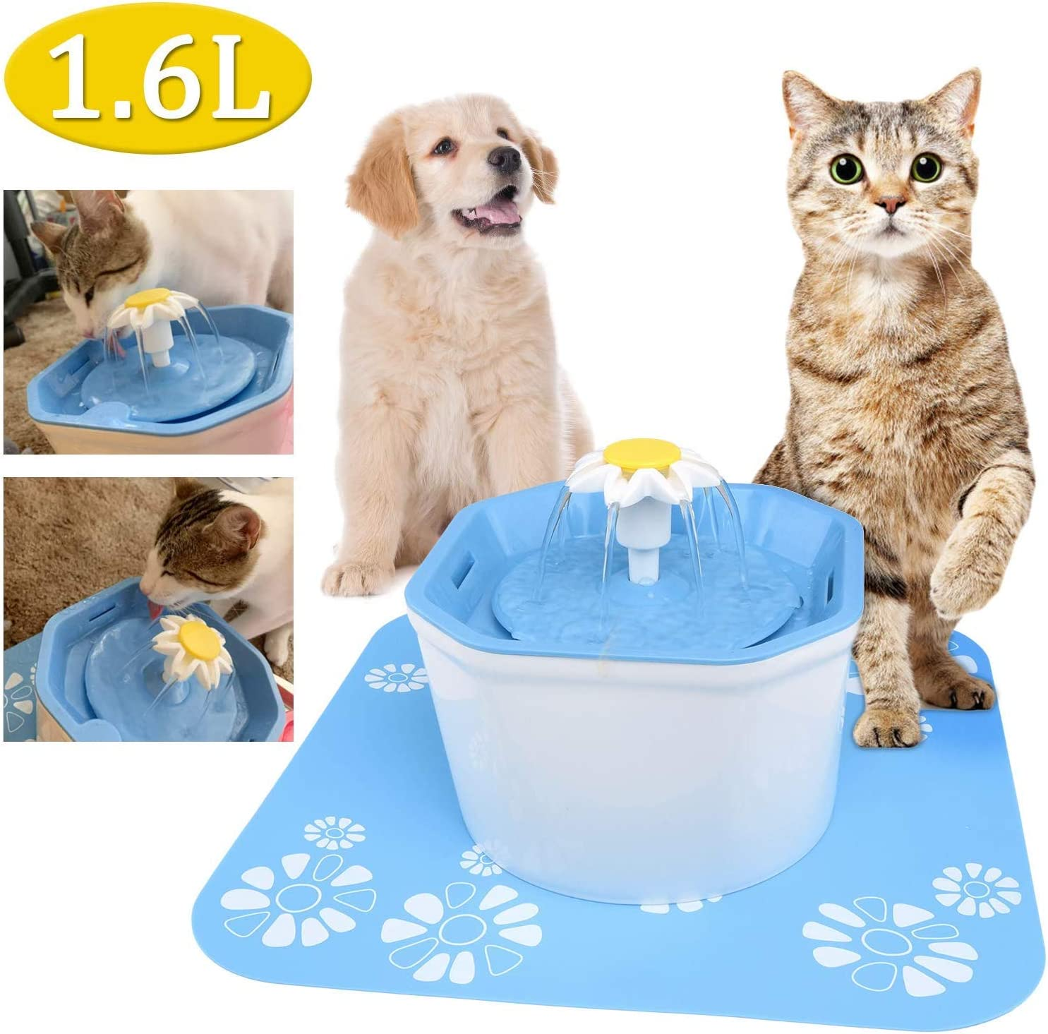 Fgyhty Automático del Animal doméstico Fuente de Agua de 1.6L eléctrico para Mascotas Bebedor Comedero para Mascotas Fuente de Agua del dispensador