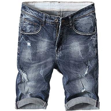 2516f6ec75 Image Unavailable. Image not available for. Color: Shunht Men's Fashion  Slim Fit Broken Hole Denim Shorts Jeans Shorts