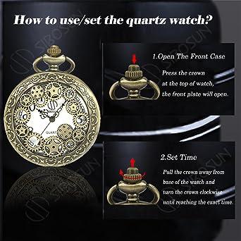 Amazon.com: SIBOSUN Pocket Watch Doctor Who Confession Dial Pattern Dr. Who Men Antique Bronze Case Quartz Chain: Watches