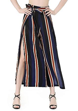 Palazzo Hosen Damen Fashion Gestreift mit Gürtel Weiten Bein Hose Elegante  Vintage High Waist Classic Unikat b8022dd435