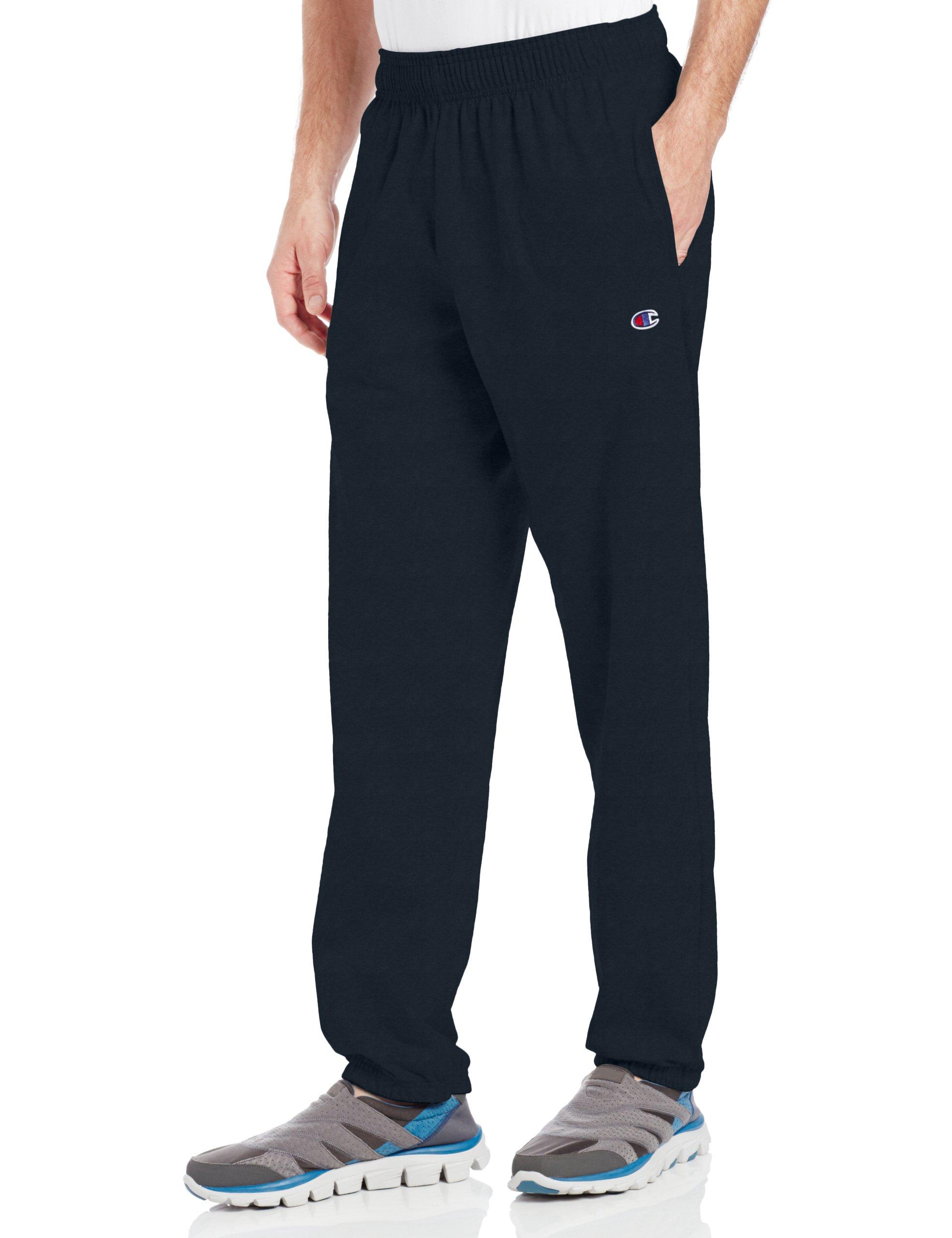 Champion Men's Closed Bottom Light Weight Jersey Sweatpant, Navy, XX-Large