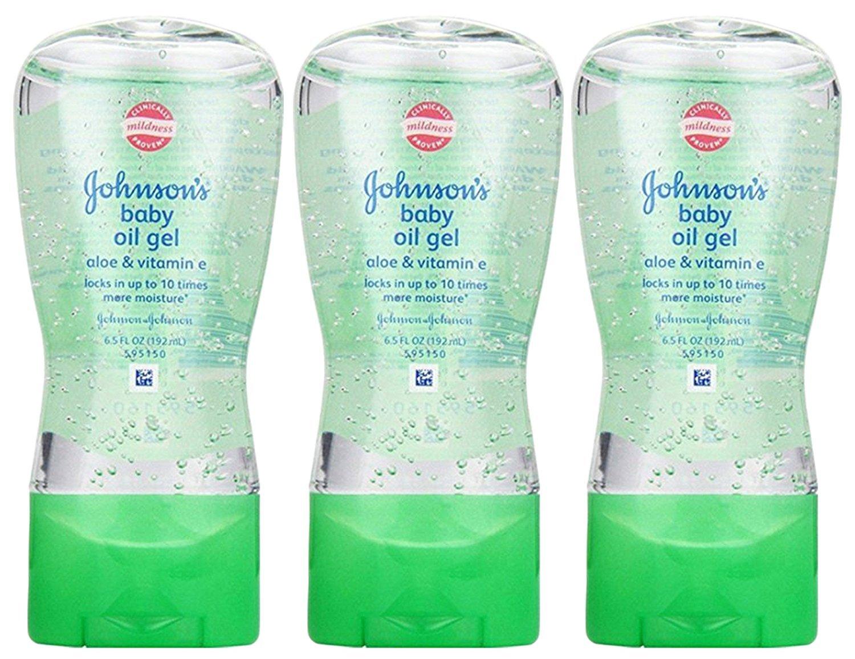 Johnsons Baby Oil Gel Aloe & Vitamin-E 6.5 Ounce (192ml) (3 Pack)
