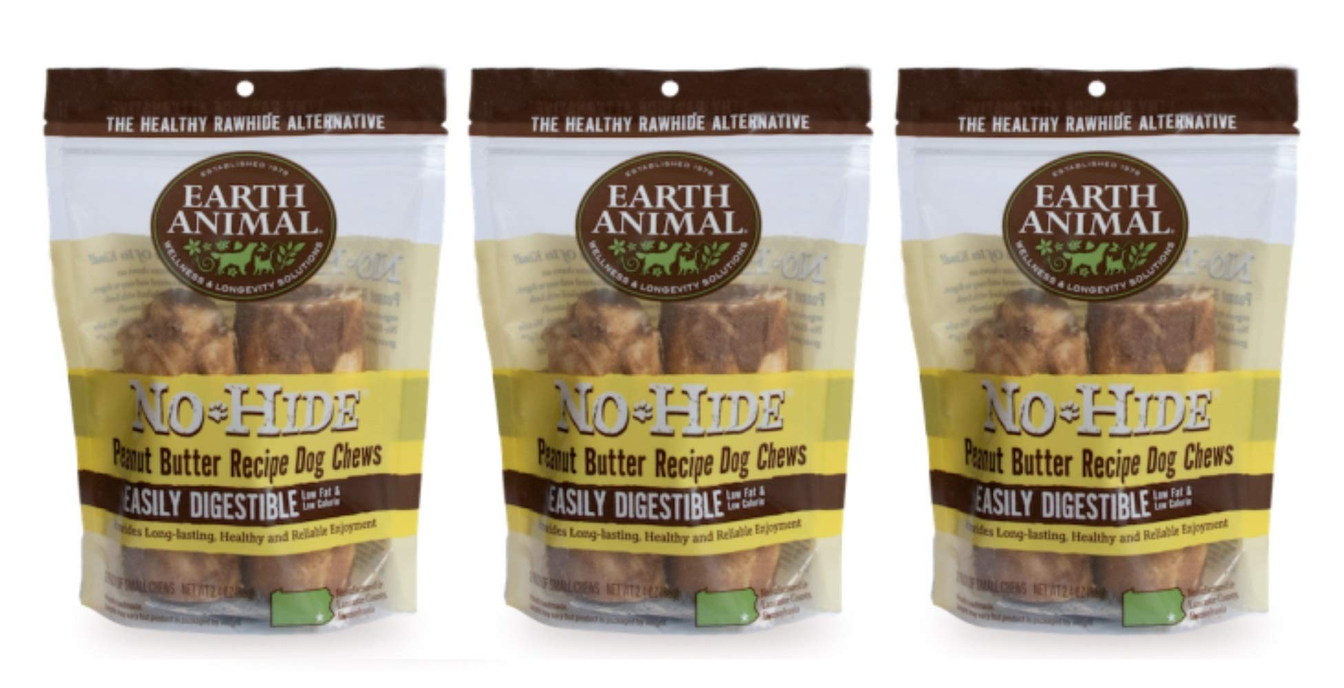 Earth Animal 6 Pack of No-Hide Peanut Butter Dog Chews, Medium, Vegetarian Rawhide Alternative by Earth Animal