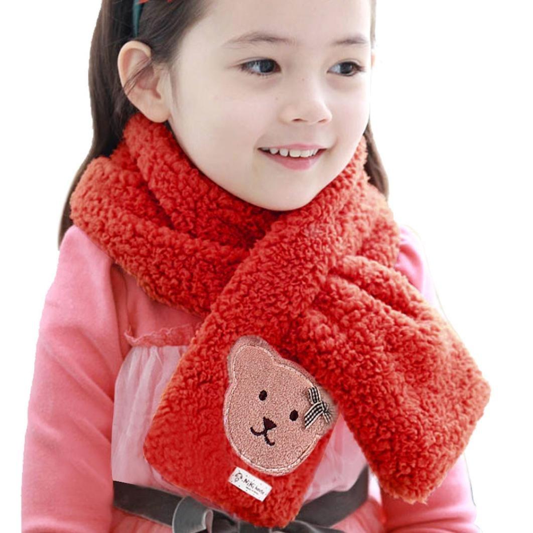 Changeshopping Kids Bear Pattern Coral Velvet Neck Collar Baby Warm Shawl Scarves