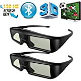 Exquizon 2 Packs Ultra-Clear HD 120HZ Bluetooth 3D Active Rechargeable Shutter Glasses for All Ready TV Sony, Panasonic, Sharp, Toshiba, Mitsubishi, Samsung