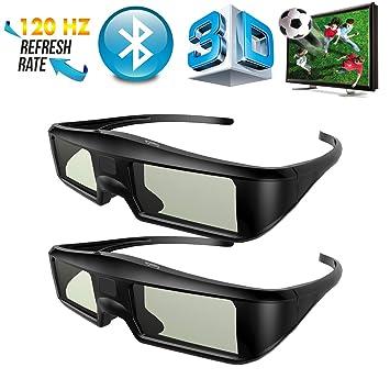 2 x Gafas 3D Bluetooth ExquizOn, Gafas 3D Universal 120Hz con Obturador Activo para 3D