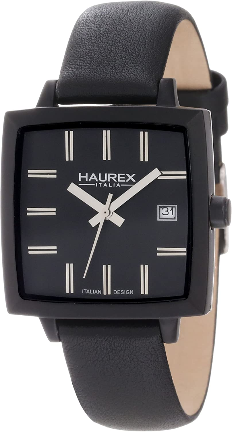 Haurex Italy Women s FK380DNN Compact W Square Black Leather Watch