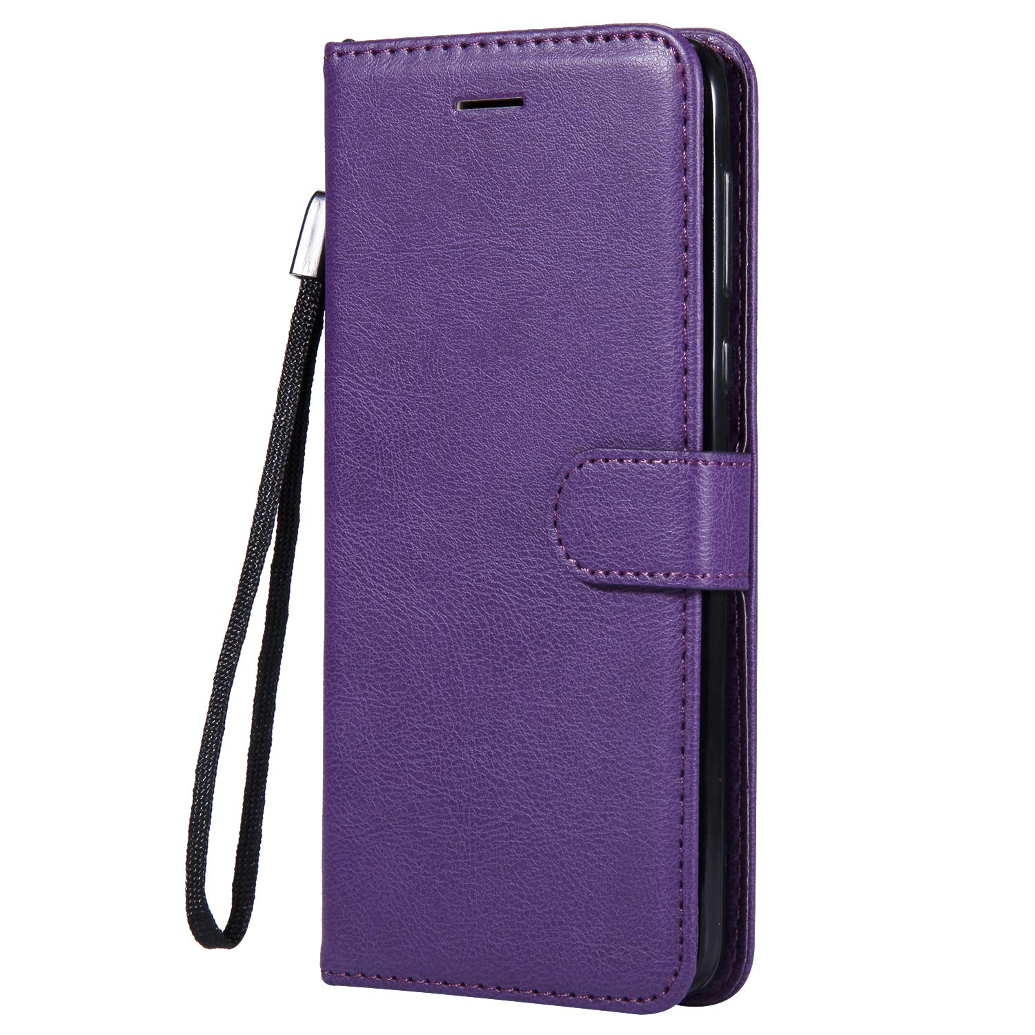 Moto G6 Plus Case, AIIYG DS Classic Pure Color [Kickstand Feature] Flip Folio Leather Wallet Case with ID and Credit Card Pockets for Moto G6 Plus Purple