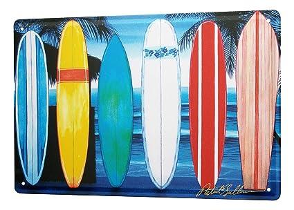 Cartel De Chapa Decoracion De La Pared Diversión Tablas de surf en la playa Metal Letrero