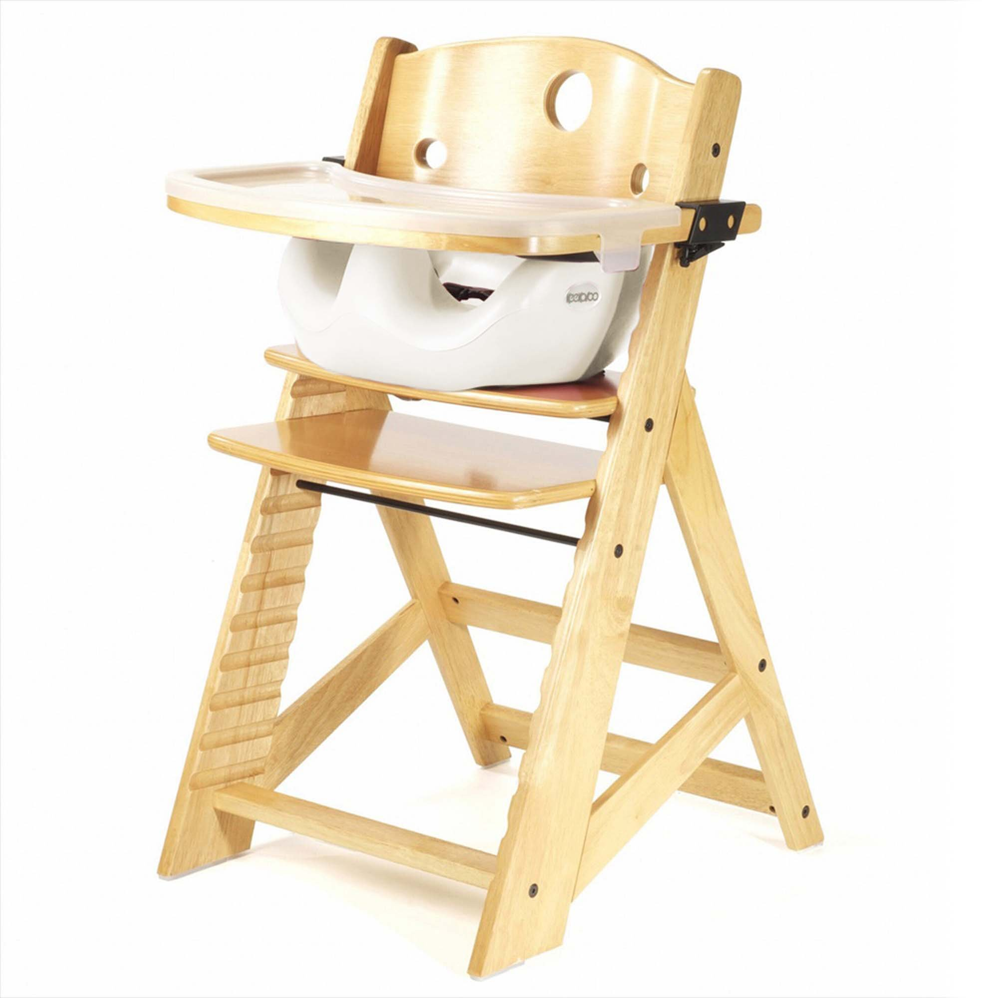Keekaroo Height Right Highchair with Insert & Tray - Vanilla - Natural Base