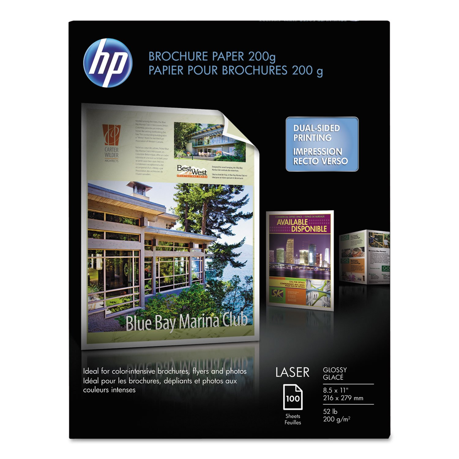 HP Q6608A Laser Brochure Paper,Glossy,58 No,97,8-1/2''x11'',100SH/PK,WE