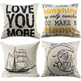HOSL P72 4-Pack Sofa Home Decor Design Throw Pillow Case Cushion Covers Square 17.5 Inch (Set of 4)