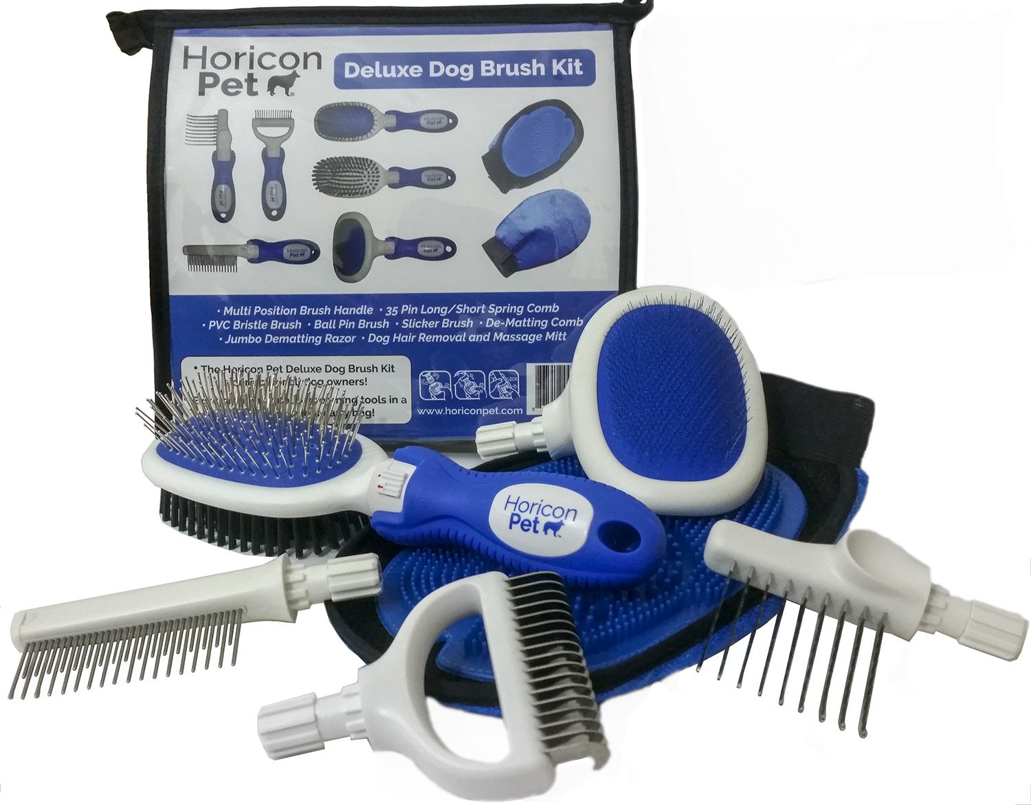 Horicon Pet Deluxe Dog Brush Kit - Interchangeable Dog Grooming Brushes, Dematting/Undercoat Comb, Slicker Brush, De-Matting Razor, Spring Comb, Ball Pin Brush, Bristle Brush