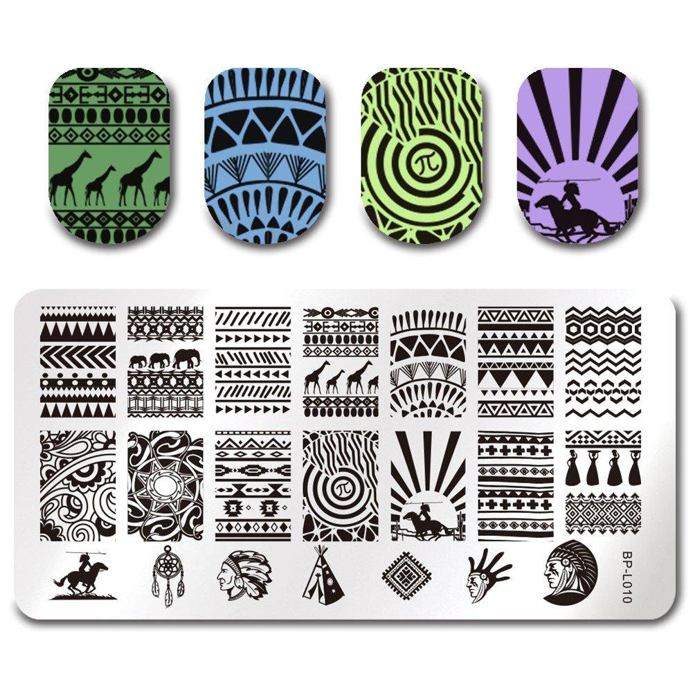 BORN PRETTY Nagel Schablone Nail Art Stamp Platte BP-L010 12,5 x 6,5 ...