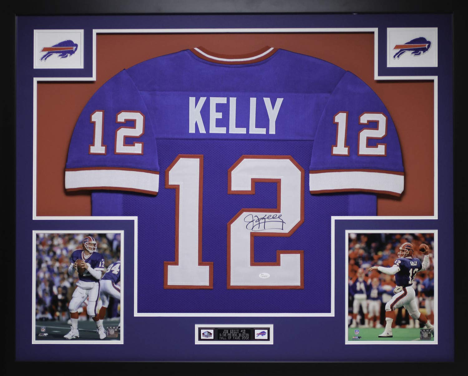 watch b10d6 85c22 Jim Kelly Autographed Signed And Framed Blue Bills Jersey ...