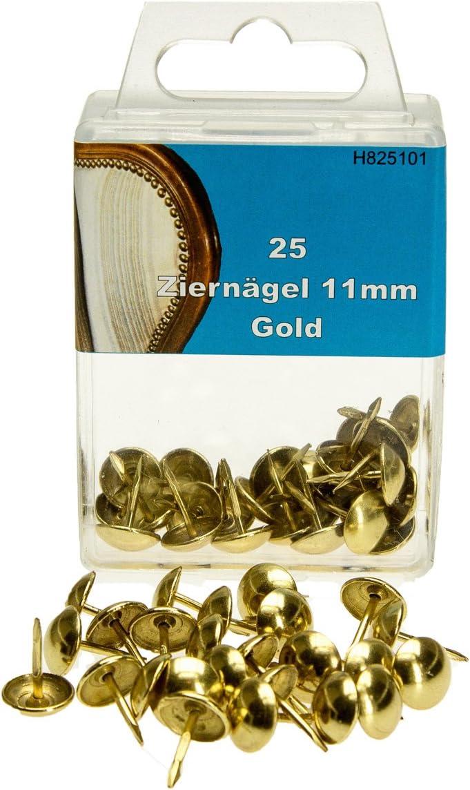 Made in Germany 11mm Kopf Top von Langlauf Schuhbedarf 25 Qualit/äts Ziern/ägel Polstern/ägel Nagel goldfarben