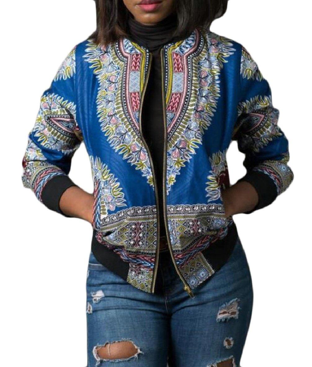 CBTLVSN Women's African Dashiki Bomber Jackets Tradional Style Zip up Jackets Coat Light Blue M