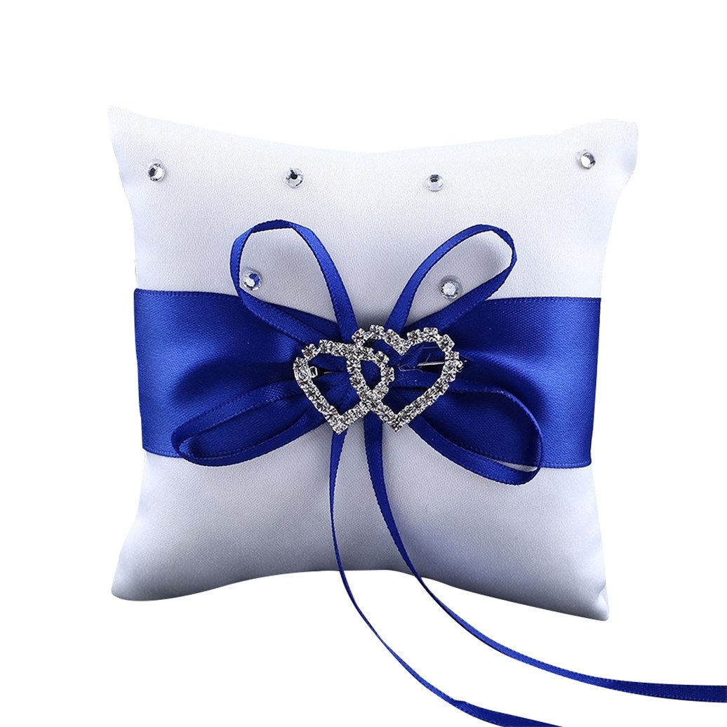 Baost 1 X Wedding Ceremony Ring Bearer Mini Pillow Cushion Royal Ribbon Decor 3.94 inch x 3.94inch - Blue