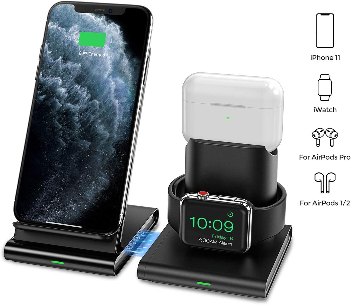 Seneo Wireless Charger, 3 in 1 Wireless Charging Station for Apple Watch, AirPods Pro2, Detachable and Magnetic Wireless Charging Stand for iPhone 11