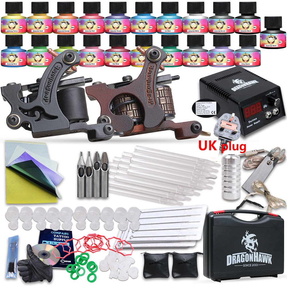 Professional starter tattoo kit 3 set equipment 2 machine for Starter tattoo kits