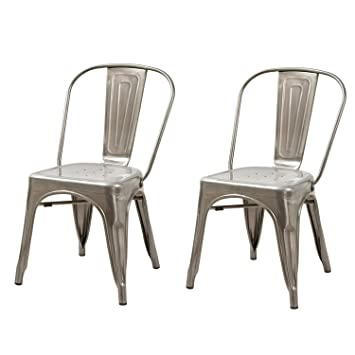 Adeco Metal Stackable Industrial Chic Dining Bistro Cafe Side Chairs,  Silver Gun Metal (Set