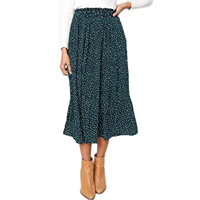EIFFTER Women's Fashion High Elastic Waist Polka Dot Printed Pleated Midi Vintage Skirts with Pockets at Women's Clothing store