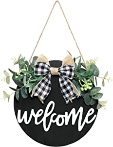 Alynsehom Welcome Sign Front Door Welcome Wreaths Black Wood Sign for Farmhouse Porch Decor Rustic Wooden Wall Sign Hangers Door Decorations Outdoor Hanging Craft (black)