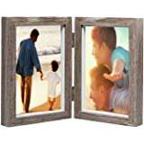 AlexBasic Wood Picture Frame Double 4x6 Hinged Picture Frame Desktop Photo Frame with Glass Front Dual Frame