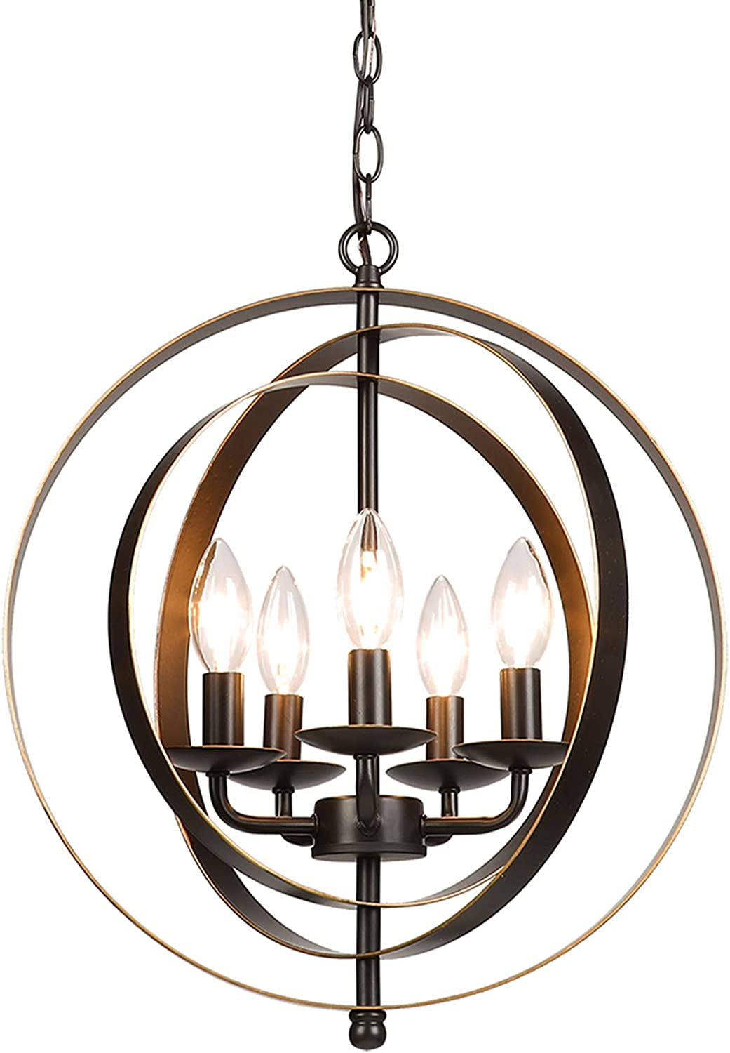 CO-Z 5 Light Orb Chandelier, Sphere Orb Hanging Lights for Dining Room Entryway Foyer Kitchen Bedroom, Antique Bronze Rustic Sphere Industrial Globe Farmhouse Pendant Lighting Ceiling Light Fixture