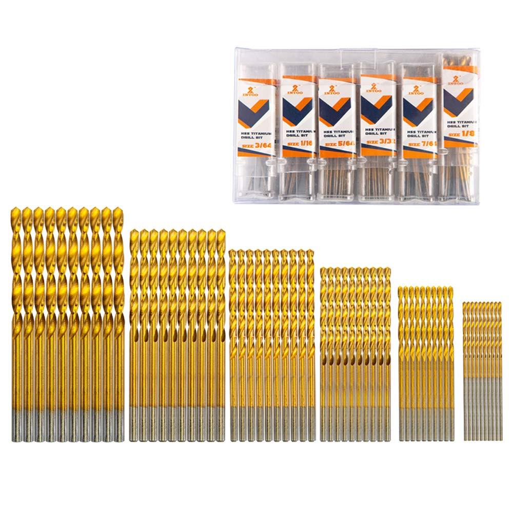"""INTOO Mini Drill Bit Set 60 Pcs+12 Pcs Free High Speed Steel HSS Titanium Micro Drill Bits For Metal,Plastic,Wood 3/64""""-1/8"""" Small drill bit"""