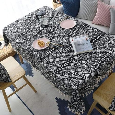 SONGHJ Algodón Lino Borla Mantel decoración del hogar Fiesta en Blanco y Negro Mantel de cumpleaños de Halloween Cubierta de Tabla de té A 140x140cm: Amazon.es: Hogar