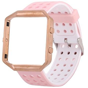 JIELIELE Fitbit Blaze Reemplazo SmartWatch Band Reloj de Silicona con Marco de Acero Inoxidable Correa de Muñeca Porosa Transpirable para Fitbit Blaze ...